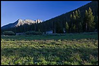 Meadow and Potter Point, Lyell Canyon. Yosemite National Park, California, USA. (color)