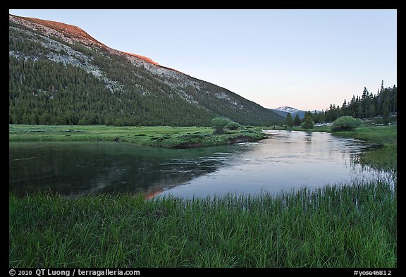 Lyell Canyon and Lyell Fork of the Tuolumne River, sunset. Yosemite National Park (color)