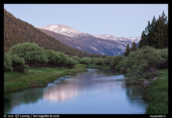 Snowy peak and Tuolumne River, Lyell Canyon, dusk. Yosemite National Park (color)