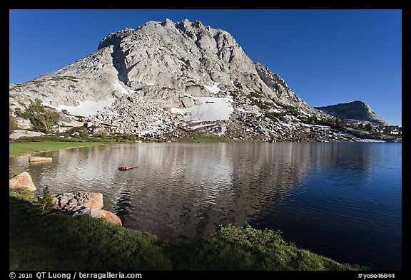 Fletcher Peak rising above Fletcher Lake. Yosemite National Park (color)
