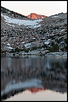 Last light on peak reflected in Vogelsang Lake. Yosemite National Park, California, USA. (color)