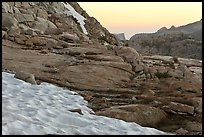 Neve at the base of Vogelsang peak at sunset. Yosemite National Park ( color)
