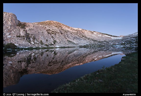Fletcher Peak reflected in Vogelsang Lake, dusk. Yosemite National Park (color)