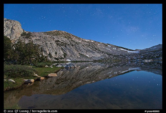 Stars above Vogelsang Lake at night. Yosemite National Park (color)