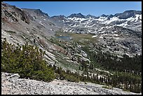High Sierra view from Vogelsang Pass above Lewis Creek with Parson Peak and Gallison Lake. Yosemite National Park ( color)