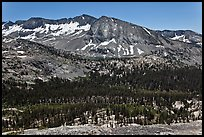High Sierra view from Vogelsang Pass above Lewis Creek with Bernice Lake. Yosemite National Park ( color)