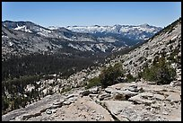 High Sierra view from Vogelsang Pass above Lewis Creek with Clark Range. Yosemite National Park ( color)