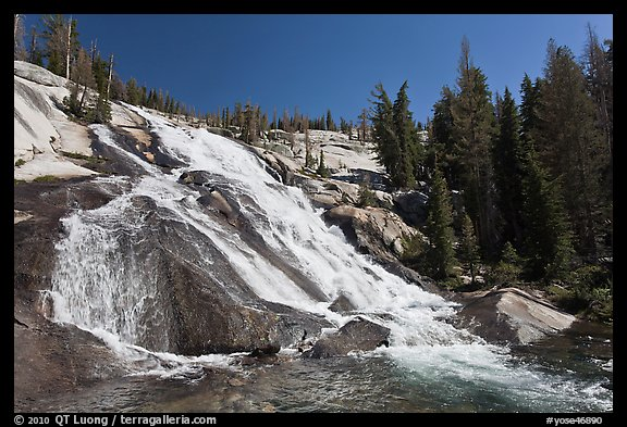 Stream flowing over steep smooth granite, Lewis Creek. Yosemite National Park (color)