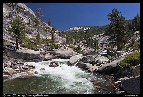 Merced river flowing in granite canyon. Yosemite National Park (color)