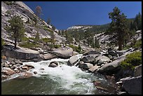 Merced river flowing in granite canyon. Yosemite National Park, California, USA. (color)