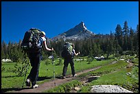 Women backpacking on John Muir Trail below Tressider Peak. Yosemite National Park, California, USA. (color)