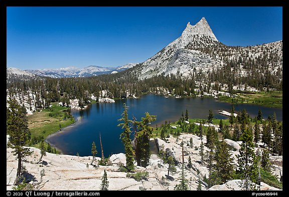 Upper Cathedral lake and Cathedral Peak, mid-day. Yosemite National Park (color)