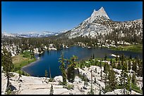 Upper Cathedral lake and Cathedral Peak, mid-day. Yosemite National Park ( color)