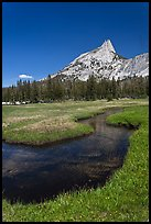 Stream and Cathedral Peak. Yosemite National Park ( color)