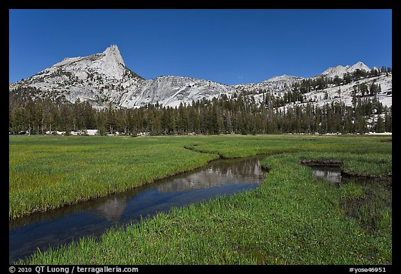 Meadow, stream, Cathedral range. Yosemite National Park (color)