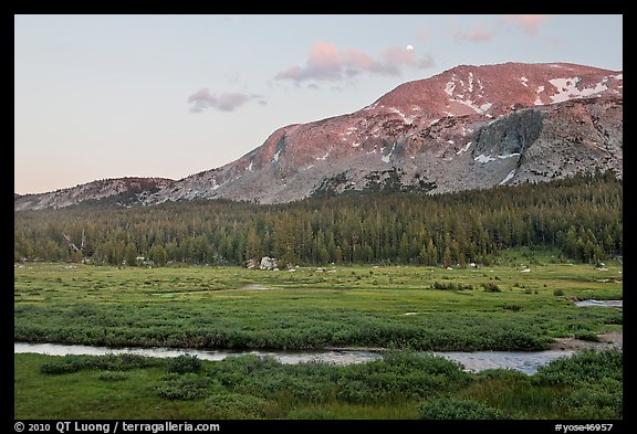 Mammoth Mountain and stream at sunset. Yosemite National Park (color)