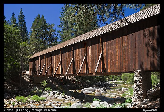 Covered bridge, Wawona historical village. Yosemite National Park (color)