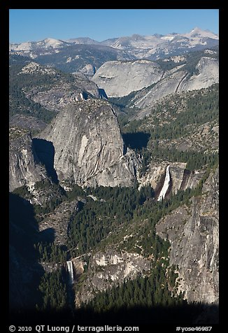 Merced River drainage with Nevada and Vernal Falls. Yosemite National Park (color)