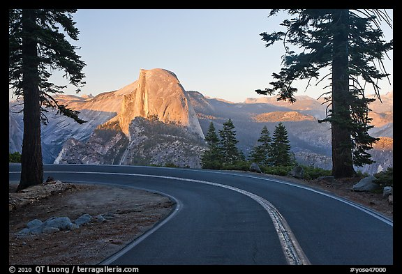 Road and Half-Dome. Yosemite National Park (color)