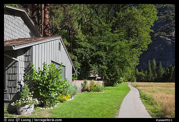 Residences at Ahwanhee Meadow edge, summer. Yosemite National Park (color)