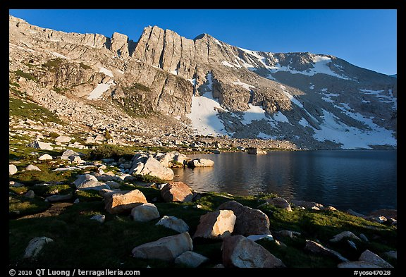 North Peak above Upper McCabe Lake, late afternoon. Yosemite National Park (color)