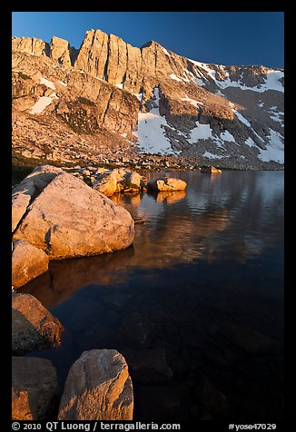 North Peak, Boulders and Upper McCabe Lake, sunset. Yosemite National Park (color)