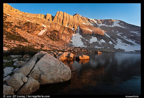 Shore of Upper McCabe Lake with North Peak at sunset. Yosemite National Park (color)