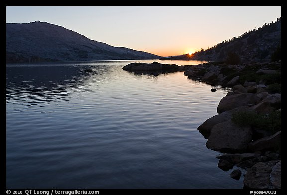Sun setting over Upper McCabe Lake. Yosemite National Park (color)