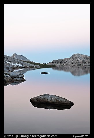 Stone in Roosevelt Lake, dawn. Yosemite National Park (color)