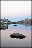 Stone in Roosevelt Lake, dawn. Yosemite National Park ( color)