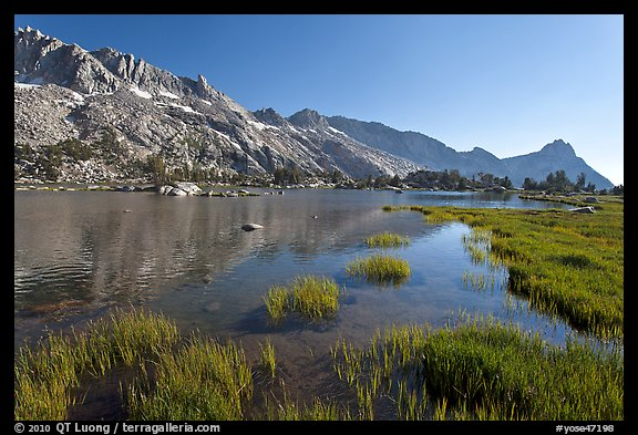 Upper Young Lake and Ragged Peak range. Yosemite National Park (color)