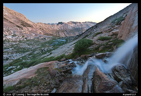 Waterfall and alpine valley at sunset. Yosemite National Park (color)