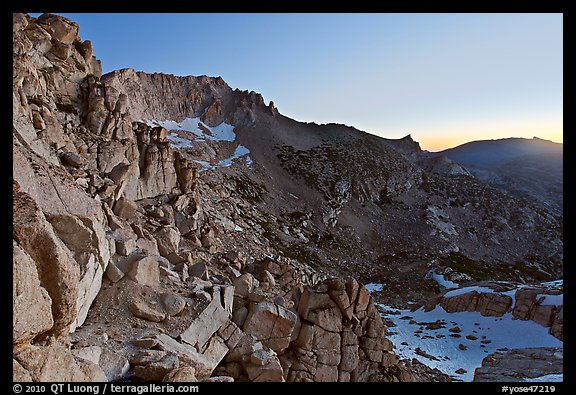 East amphitheater of Mount Conness at dawn. Yosemite National Park (color)