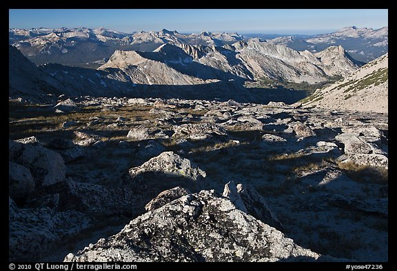 Domes and mountains from rocky plateau, Mount Conness. Yosemite National Park (color)