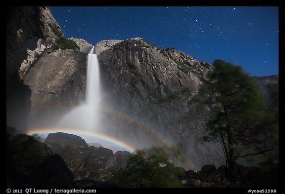 Double moonbow, Yosemite Falls. Yosemite National Park (color)
