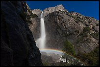 White rainbow at the base of Yosemite Falls. Yosemite National Park, California, USA. (color)