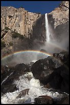 Spray rainbows, Bridalveil Fall. Yosemite National Park ( color)