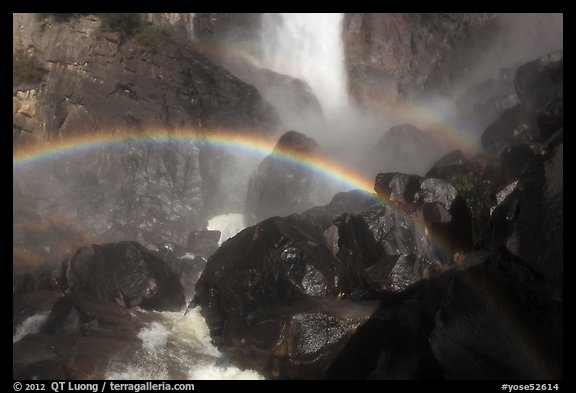 Rainbows in the mist of Bridalveil Fall. Yosemite National Park (color)
