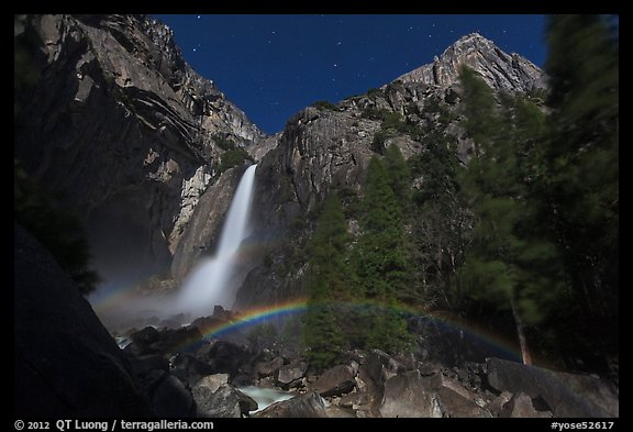 Lunar rainbow, Lower Yosemite Fall. Yosemite National Park, California, USA.