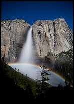 Lunar rainbow, Upper Yosemite Fall. Yosemite National Park, California, USA. (color)