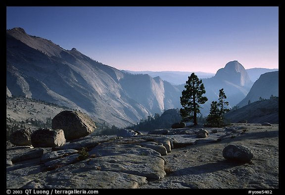 Erratic boulders, pines, Clouds rest and Half-Dome from Olmstedt Point, late afternoon. Yosemite National Park (color)