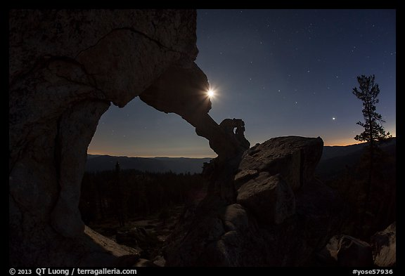 Moon and Indian Arch at night. Yosemite National Park (color)