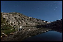 Vogelsang Lake moonlit at night. Yosemite National Park ( color)