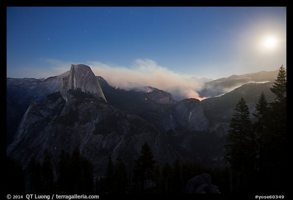 Half-Dome, fire, and moon. Yosemite National Park (color)
