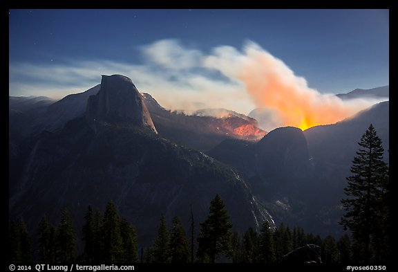 Half-Dome and wildfire at night. Yosemite National Park (color)