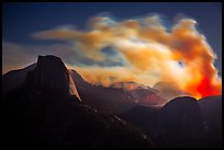 Half-Dome, fire and smoke at night. Yosemite National Park ( color)