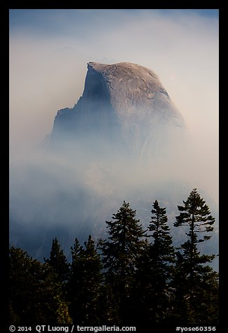 Half-Dome emerging from smoke at night. Yosemite National Park (color)