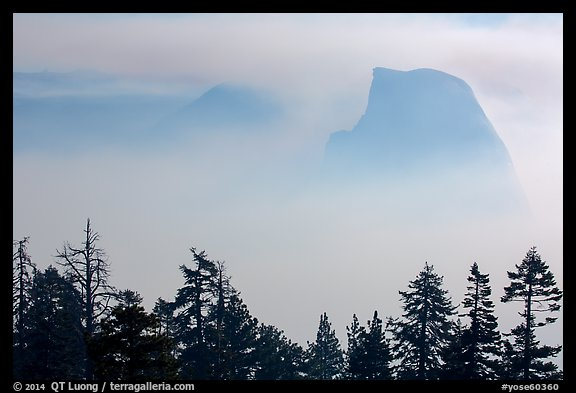 Half-Dome and Clouds Rest emerging from smoke. Yosemite National Park (color)