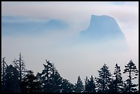 Half-Dome and Clouds Rest emerging from smoke. Yosemite National Park ( color)