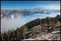 View from Sentinel Dome over fog-filed Valley. Yosemite National Park ( color)